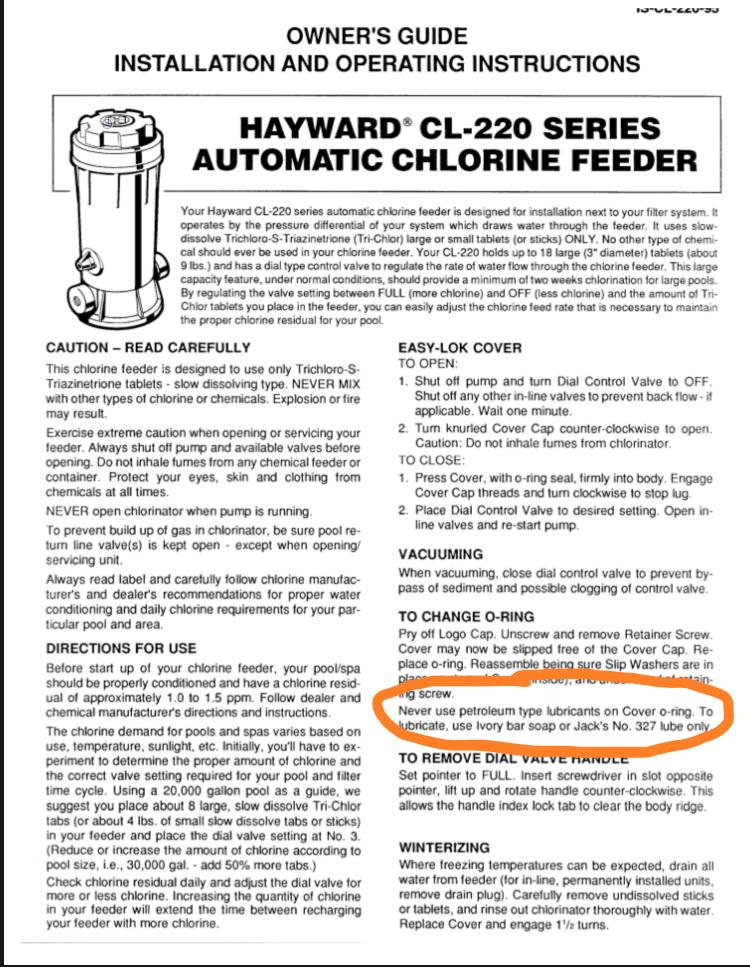 Hayward Chlorinator O-ring